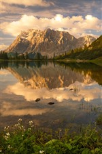Preview iPhone wallpaper Lake, mountains, water reflection, clouds, sunset