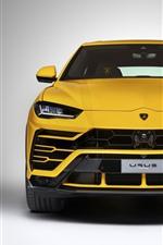 미리보기 iPhone 배경 화면 람보르기니 Urus 노란색 SUV 초경계, 헤드 라이트