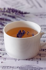 Preview iPhone wallpaper Lavender, tea, music score