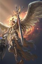 Liga de los Ángeles, hermoso ángel, alas, espada