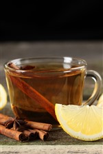 Preview iPhone wallpaper Lemon, tea, cinnamon, drinks
