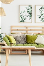 Preview iPhone wallpaper Living room, sofa, pillow, simple style