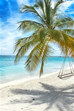 Preview iPhone wallpaper Lonely palm tree, swing, beach, sea