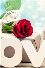 Preview iPhone wallpaper Love, red rose, gift, romantic