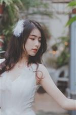 Preview iPhone wallpaper Lovely Asian girl, white skirt, hazy