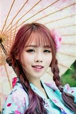 미리보기 iPhone 배경 화면 사랑스러운 일본 소녀, 머리 띠, 기모노, 우산