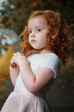 Lovely little girl, curls, riverside