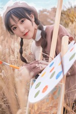 Preview iPhone wallpaper Lovely young girl, painter, reeds