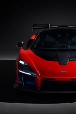 McLaren 2018 red supercar front view, headlight