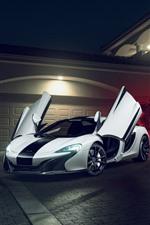Preview iPhone wallpaper McLaren 650S white supercar, doors opened, villa, night