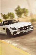 Preview iPhone wallpaper Mercedes-Benz AMG GT white sports car speed