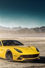 Preview iPhone wallpaper Mercedes-Benz GTR green supercar and Ferrari F12 yellow supercar