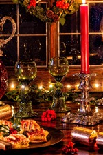 Preview iPhone wallpaper Merry Christmas, decorations, glass cups, wine, candles, lights