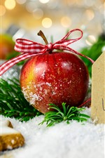 Preview iPhone wallpaper Merry Christmas, red apple, star cookies, snow