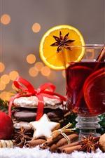 Merry Christmas, tea, cinnamon, orange slice, red apple, nuts, berries