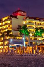 Mexico, sun loungers, resort, night, palm trees, lights