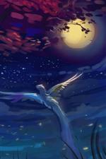 Moon, night, bird flight, wings, trees, clouds