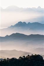 iPhone fondos de pantalla Mañana, niebla, montañas, árboles, paisaje de la naturaleza