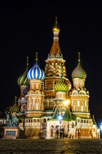Preview iPhone wallpaper Moscow, Kremlin, Red Square, night, lights