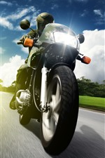 Preview iPhone wallpaper Motorcycle, front view, speed, road, clouds, trees