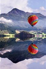 Preview iPhone wallpaper Mountain, lake, hot air balloon, water reflection