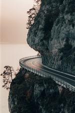 Montaña, camino, acantilado, río