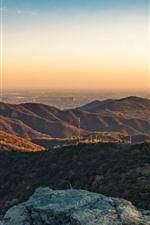 Montañas, vista superior, carretera, plantas, mañana, sol, niebla