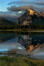 Mountains, trees, lake, water reflection, Canada