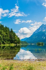 Mountains, trees, lake, water reflection, blue sky, clouds