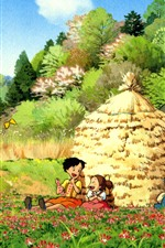 Preview iPhone wallpaper My Neighbor Totoro, beautiful countryside, Japanese anime