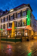 Holanda, Nijmegen, café, ciudad, noche, luces