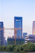 Ningbo, China, ciudad, rascacielos, edificios, río, puente