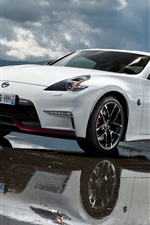 Preview iPhone wallpaper Nissan 370Z white car, water