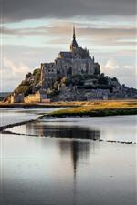 Normandia, França, Mont Saint Michel, rio, nuvens