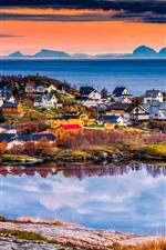 미리보기 iPhone 배경 화면 노르웨이,로 포텐 제도, 아름다운 마을, 바다, 일몰