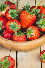 Preview iPhone wallpaper One bowl of ripe strawberry, wood table