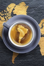 Preview iPhone wallpaper One cup coffee, global map