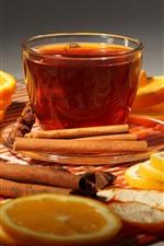 Preview iPhone wallpaper One cup tea, orange slice, cinnamon