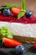 One slice cake, cream, strawberry, blueberry