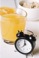 Orange juice, alarm clock