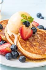 Panqueques, fresa, arándano, miel, desayuno.