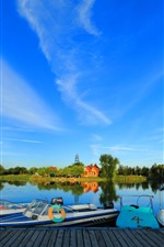 Parque, barcos, lago, árboles, cielo azul, China