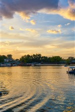 Park, See, Boote, Wolken, Morgen, China
