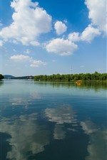 Preview iPhone wallpaper Park, lake, clear water, willow, boats, clouds, sky, China