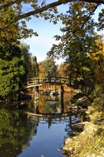 Preview iPhone wallpaper Park, trees, bridge, pond, sunshine