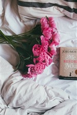 Preview iPhone wallpaper Peony, pink flowers, book, coffee, still life