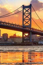 Philadelphia, Benjamin Franklin Bridge, river, sunset, USA