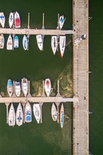 Preview iPhone wallpaper Pier, boats, yachts, sea, top view