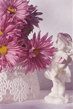 Preview iPhone wallpaper Pink chrysanthemum, white figurine