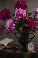 Pink peonies, flowers, vase, book, clock